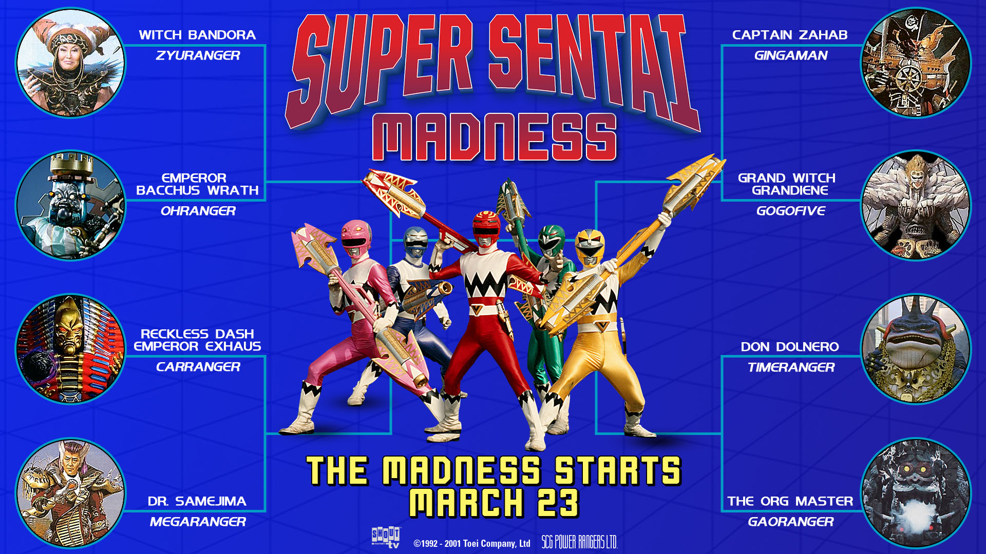 Shout! Factory TV Presents SUPER SENTAI MADNESS Three-Weekend Villain Tournament Livestream of Sentai Series